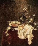 Willem Claesz. Heda Ham and Silverware oil on canvas